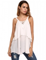 White V-Neck Lace Up Sleeveless Layered Chiffon Tank Tops