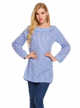 Blue Plaid Back Button Collared Long Sleeve Tops