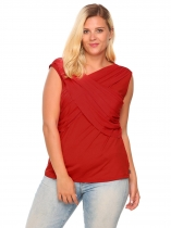 Red Plus Size V-Neck Cross Front Sleeveless Draped Tank Top