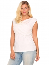 White Plus Size V-Neck Cross Front Sleeveless Draped Tank Top