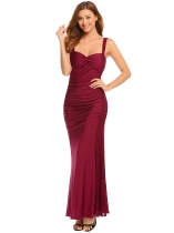 Wine red Strap Ruched Lace Patchwork Empire Padded Maxi Bodycon Evening Dress