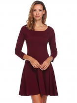 Wine red Femmes O cou à manches longues solides occasionnels Slim Fit Cocktail Party Mini robe