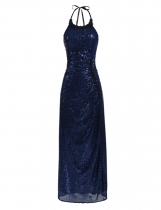 Navy blue Sequined Sleeveless Halter Evening Maxi Dress