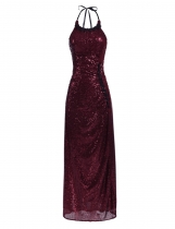 Wine red Sequined Sleeveless Halter Evening Maxi Dress