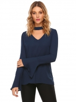 Navy blue V-Neck bell Sleeve Solid Chiffon Blouse