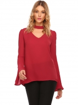 Wine red V-Neck bell Sleeve Solid Chiffon Blouse