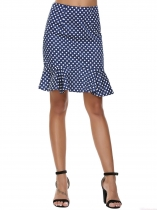 Dark blue High Waist Dot Mermaid Ruffles Short Skirt