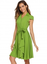 Green Surplice Neck Cap Sleeve Swing Dress with Belt