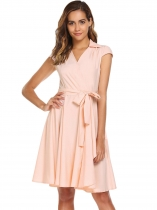 Pink Surplice Neck Cap Sleeve Swing Dress with Belt