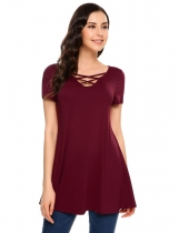 Wine red Deep V-Neck Front Cross Short Sleeve Long T-Shirt