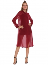 Wine red Solid Collared Long Sleeve Front Button Gauze Mesh Smock