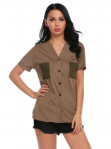 Army green Women Fashion V-Neck Short Sleeve Patchwork Button Dip Hem Tops