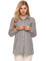 Black white Striped Long Sleeve Button Down Collar Loose Shirts