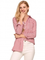 Red white Striped Long Sleeve Button Down Collar Loose Shirts