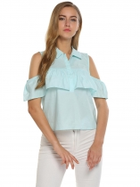 Blue Solid Cold Shoulder Turn Down Collar Ruffle Casual Tops