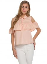Pink Solid Cold Shoulder Turn Down Collar Ruffle Casual Tops