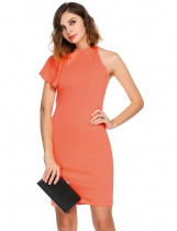 Orange Mujeres O-cuello sin mangas Frío Hombro Ruffle Solid Zipper Slim Sexy Dress