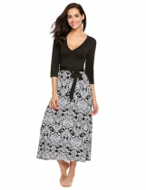 Noir Plunging Neck Patchwork Prints Belted Maxi Dress