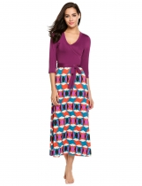Purple Plunging Neck Patchwork Prints Belted Maxi Dress