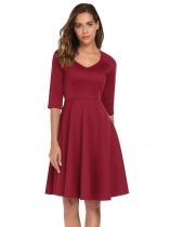 Wine red Half Sleeve Solid Back Zipper A-Line Dress
