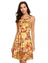 Yellow Sleeveless Floral O Neck Sexy Skater Dress