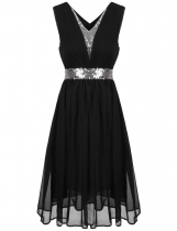 Black Sequins Patchwork Elastic Waist Ruched Chiffon Dress
