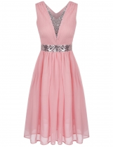 Pink Sequins Patchwork Elastic Waist Ruched Chiffon Dress