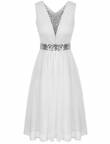 White Sequins Patchwork Elastic Waist Ruched Chiffon Dress