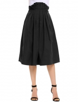 Black Solid Pleated Waist Back Zipper A-Line Retro Style Skirt