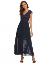 Navy blue Women Fashion V-Neck Short Cap Sleeve Lace Patchwork High Waist Long Maxi Dress