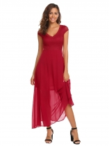 Red Women Fashion V-Neck Short Cap Sleeve Lace Patchwork High Waist Long Maxi Dress