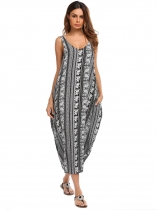 Mujeres Boho Rayon Imprimir Backless O Neck flojo Harem Tank Maxi Dress