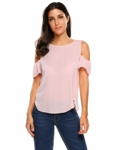 Pastel pink Solid Cold Shoulder Short Sleeve Chiffon Tops