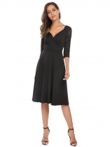Black Surplice Neck 3/4 Sleeve Lace Patchwork Pleated Dress