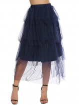 Navy blue Elastic High Waist Tiered Mesh Tutu Tulle Skirt