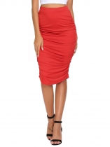 Red Elastic High Waist Knee-Length Shirring Pencil Skirt