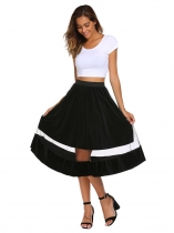 Black High Elastic Waist Mesh Pleated Skirt