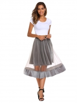 Gray High Elastic Waist Mesh Pleated Skirt