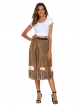 Light coffee High Elastic Waist Mesh Pleated Skirt