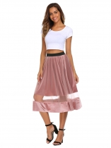 Pink High Elastic Waist Mesh Pleated Skirt