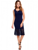 Dark blue Vintage Styles Elastic Lace Patchwork Tank Mermaid Dress
