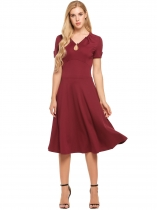 Wine red Vintage Style Keyhole Short Sleeve Draped Solid Dress