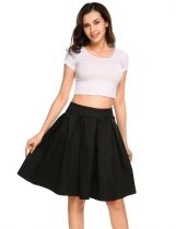 Black Vintage Style Solid A-Line Pleated Swing Skirt
