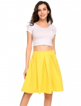Yellow Vintage Style Solid A-Line Pleated Swing Skirt