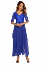 Royal Blue Lace Chiffon Patchwork V Neck Vintage Maxi Dress