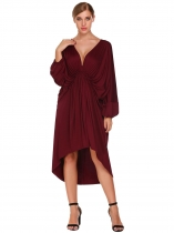 Wine red Plunging-Neck Batwing Sleeve Ruched Asymmetrical Dress