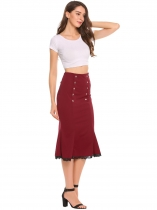 Red High Waist Package Hip Fishtail Button Pencil Skirt