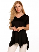 Black Short Sleeve V-neck Asymmetric Hem Loose Casual Tops