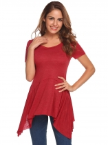 Wine red Solid Irregular Hem O-Neck Short Sleeve Tops