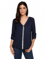 Dark blue Sequined Patchwork V-Neck Long Sleeve Chiffon Shirts